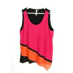 NY Collection Sleeveless Pleated Knit Top XL